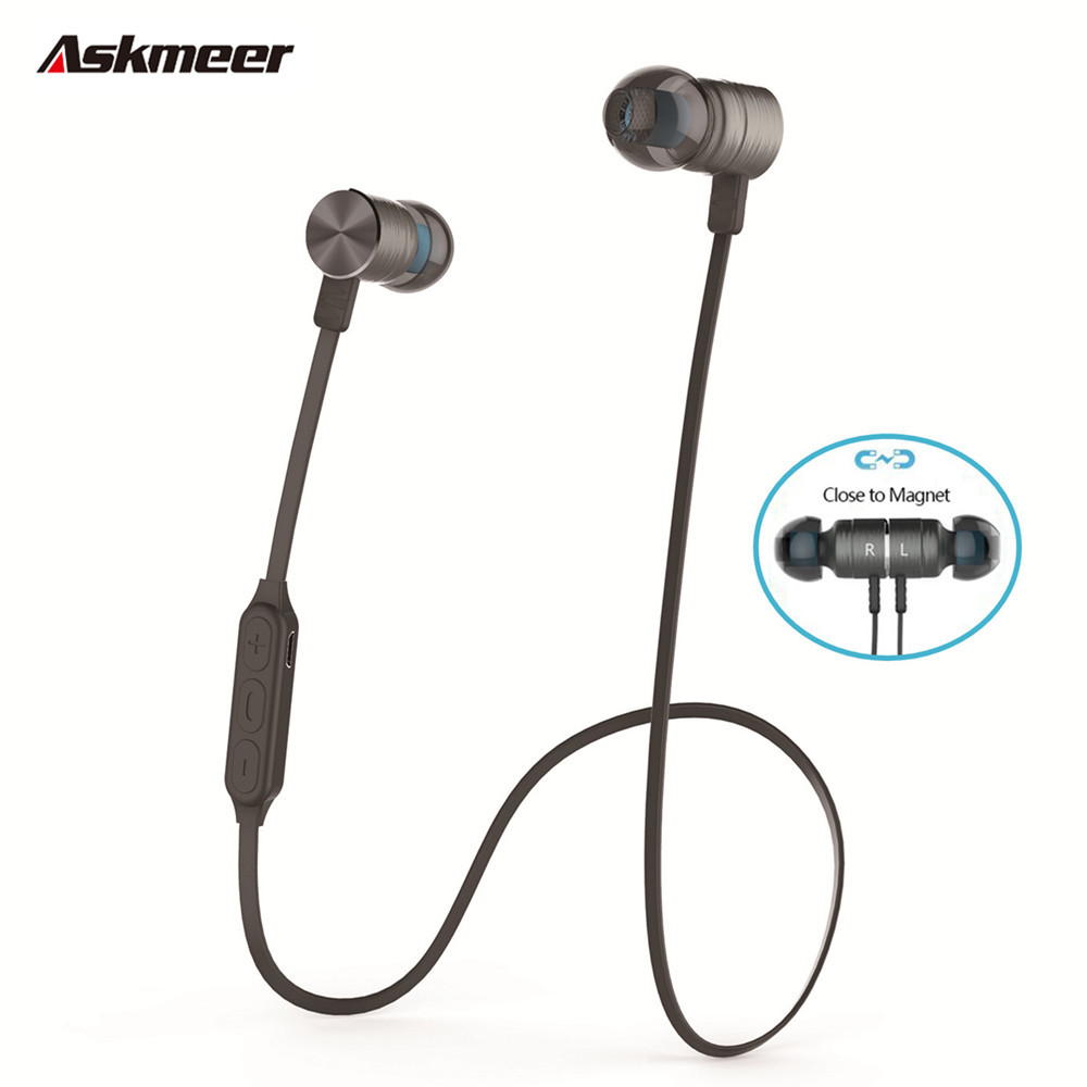 Askmeer BX325 Metal Magnet Bluetooth Headset In-ear Sport Earphones Auriculares Blue tooth Wireless Stereo Earphone with Mic fashion professional in ear earphones light blue black 3 5mm plug 120cm cable