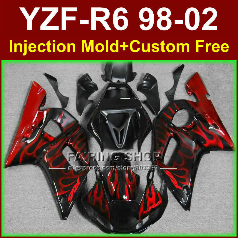 O8EC New red flame fairing set for YAMAHA R6 98 99 00 01 02 YZF R6 fairing kit 1998 1999 2000 2001 2002 fairings parts O9RG 1pc new 99 9