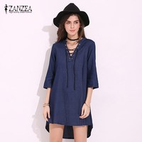 2017 Sexy Women Lace Up Tie Neck 3 4 Sleeve Denim Jeans Casual Loose Asymmetric Hem