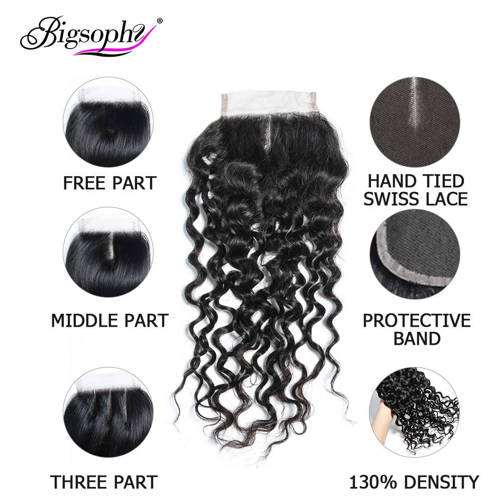 Bigsophy бразильские волосы глубокие синтетические волосы волнистые 100% человеческие волосы 4*4 Кружева закрытия завитые здоровые волосы швейцарские кружева закрытия 4x 4 8-20 дюймов