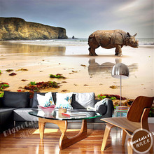 beibehang Animal rhino Custom wall paper papel de parede 3d Home Decoration mural wallpaper for living room bedroom TV backdrop(China)
