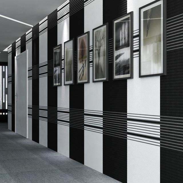 Moderne Simple Noir Blanc Vertical Papier Peint A Rayures Chambre