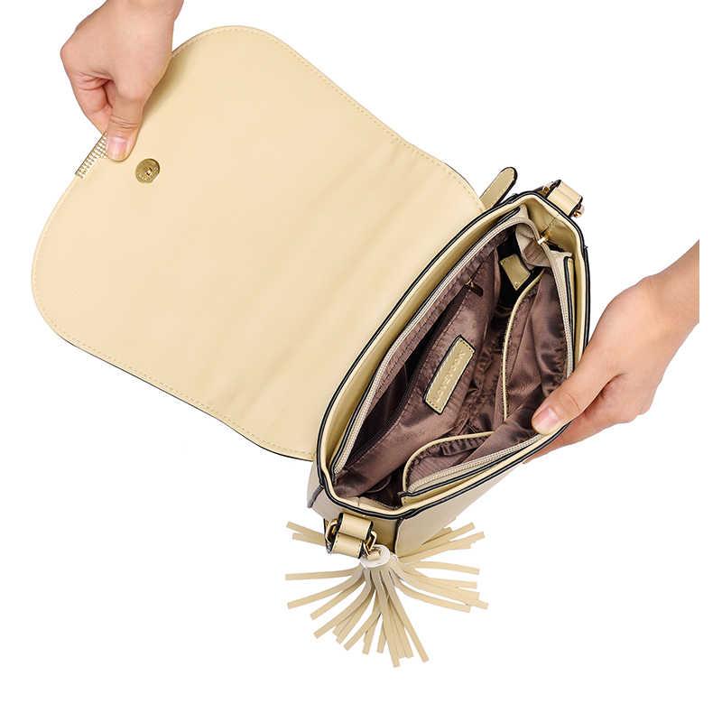 LOVEVOOK femmes sac bandoulière femme sacs de messager avec gland haute qualité dames sacs Beige/marron/gris selle rétro