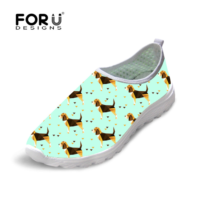FORUDESIGNS Women's Shoes Beagles Pet Dog Printing Mesh Casual Shoes Women Summer Lightweight Sneakers for Female Comfortable