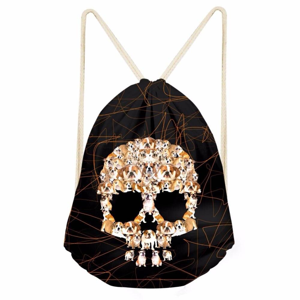 ThiKin Creative 3D Pug Dog Skull Head Print Women Drawstrings Bags Casual Storage Backpacks for Teen