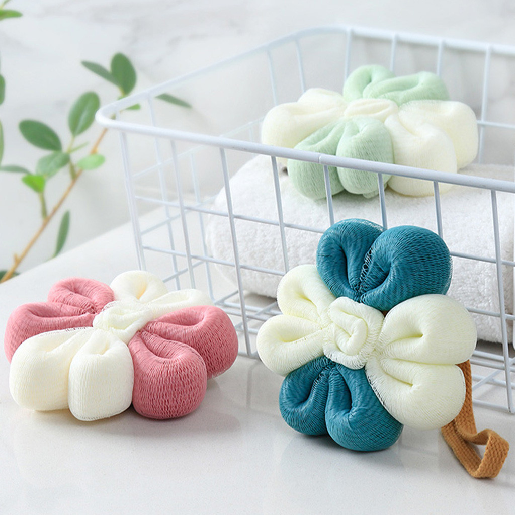 Bathroom Products Home & Garden Flower Loofah Bath Shower Sponge Pouf Mesh Ball Exfoliating Premium Scrubber Home Cute Color Matching Korean Soft Bath Ball 409 Commodities Are Available Without Restriction