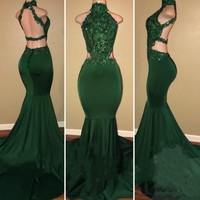 Evening Dresses Long Mermaid Sexy Robe De Soiree 2018 Custom Made New Designer Evening Gowns Green