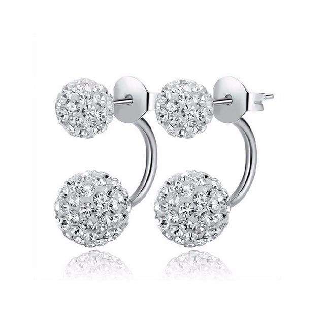 2016 New Fashion Shambhala Double Sided Sythetic Crystal Ball Stud Earrings for Women Wedding Jewelry Gift Wholesale E1752