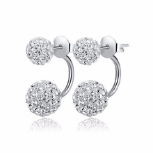 2016 New Fashion Shambhala Double Sided Sythetic Crystal Ball Stud Earrings for Women Wedding Jewelry Gift Wholesale E1752