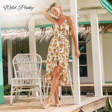 WildPinky 2019 Women Summer Dress Boho Style Floral Print Chiffon Long Beach Ruffles Sundress Midi Party Vestidos