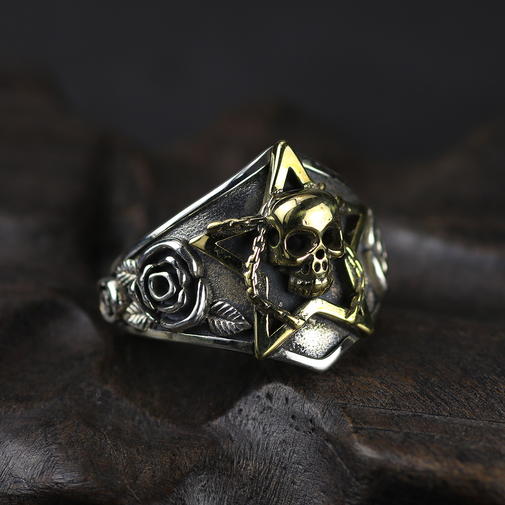 Real Pure 925 Sterling Silver Viking Ring Skull With Pentagram Gothic Punk Rock Rose Flower Carving Resizable For Men and Women gothic style faux crystal rose bracelet with ring for women