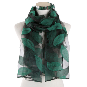 Image 3 - FOXMOTHER Women Scarfs Red Green Color Embroidered Leaves Lace Scarves Cut Flower Leaf Shawl Muslim Hijab Sjaal Scarfs Ladies