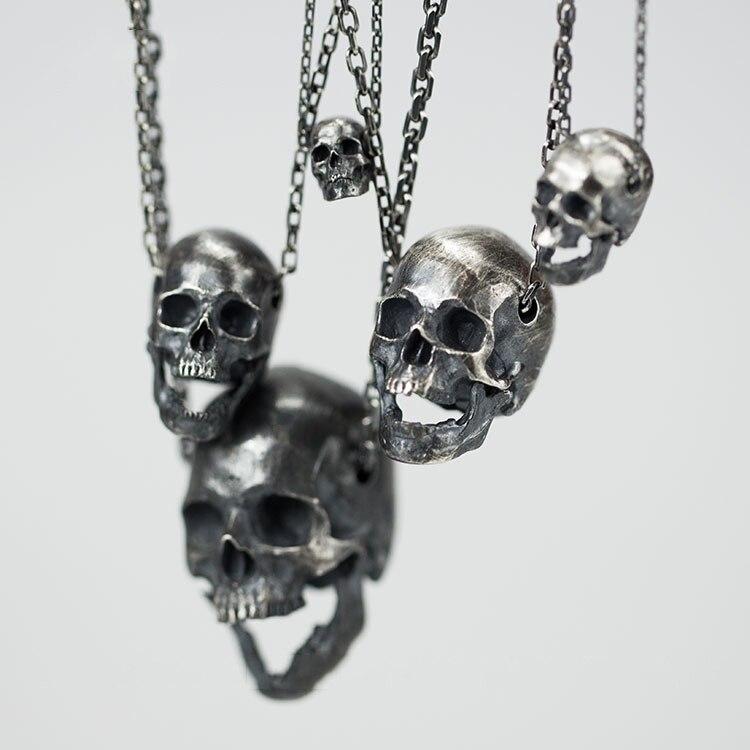Skull Men and Women Pendant S925 Silver Original Design Personality EDC DIY Pendant Paracord Knife Lanyards Outdoor Knife Beads
