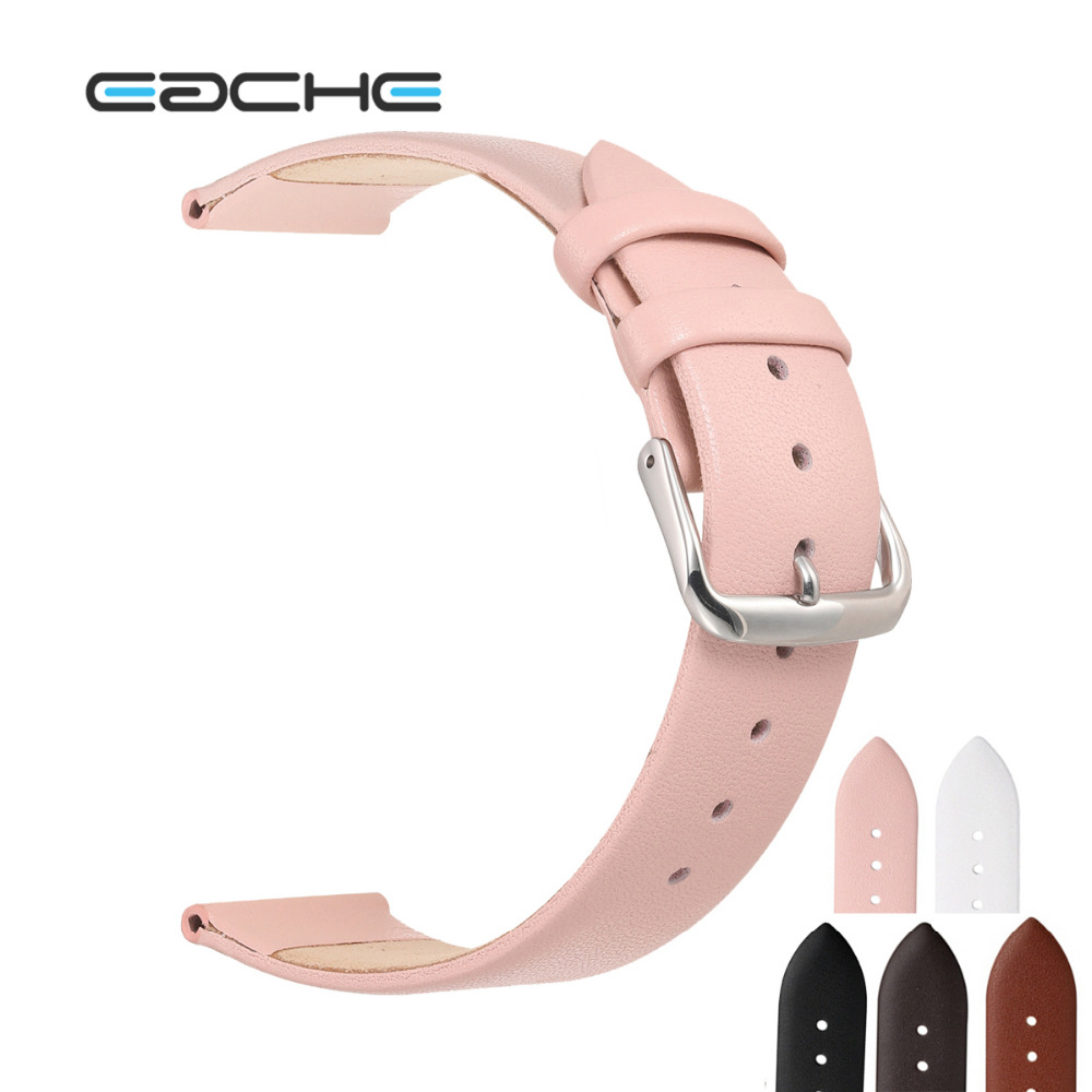 Hot Selling Genuine Leather Watchstrap Ultra-thin Smooth Pink Black White Brown Watch Band Strap 12mm 14mm 16mm 18mm 20mm 22mm
