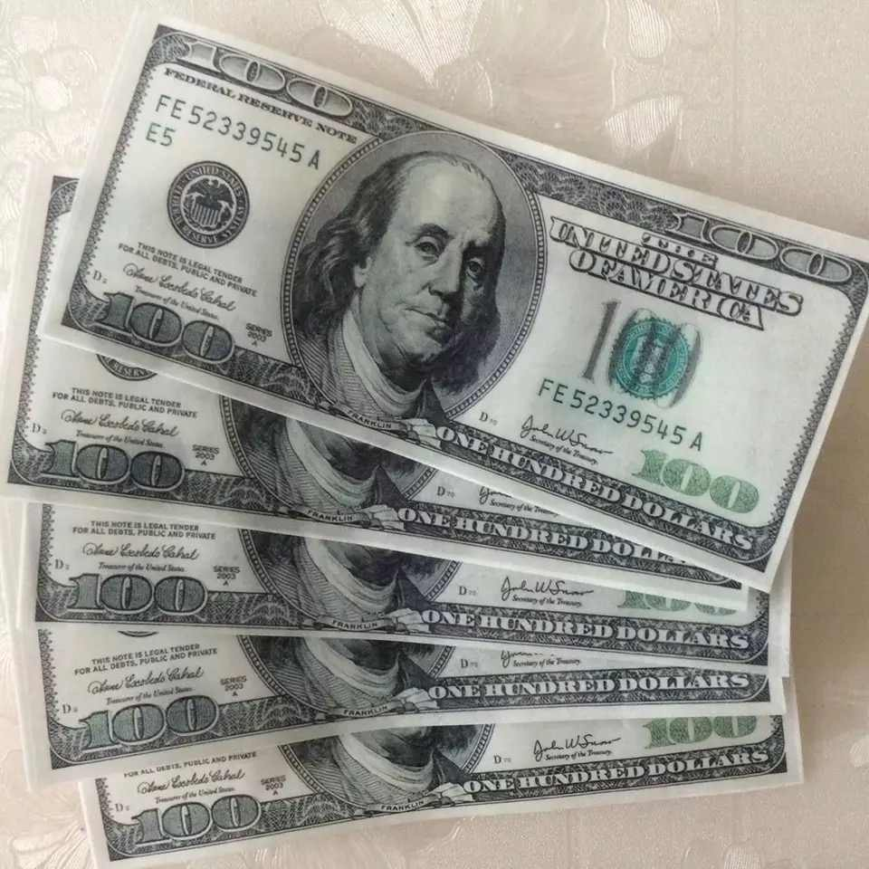 Edible US Dollar Money Wafer Rice Paper For Cake Topper Party Creative Fun Decoration
