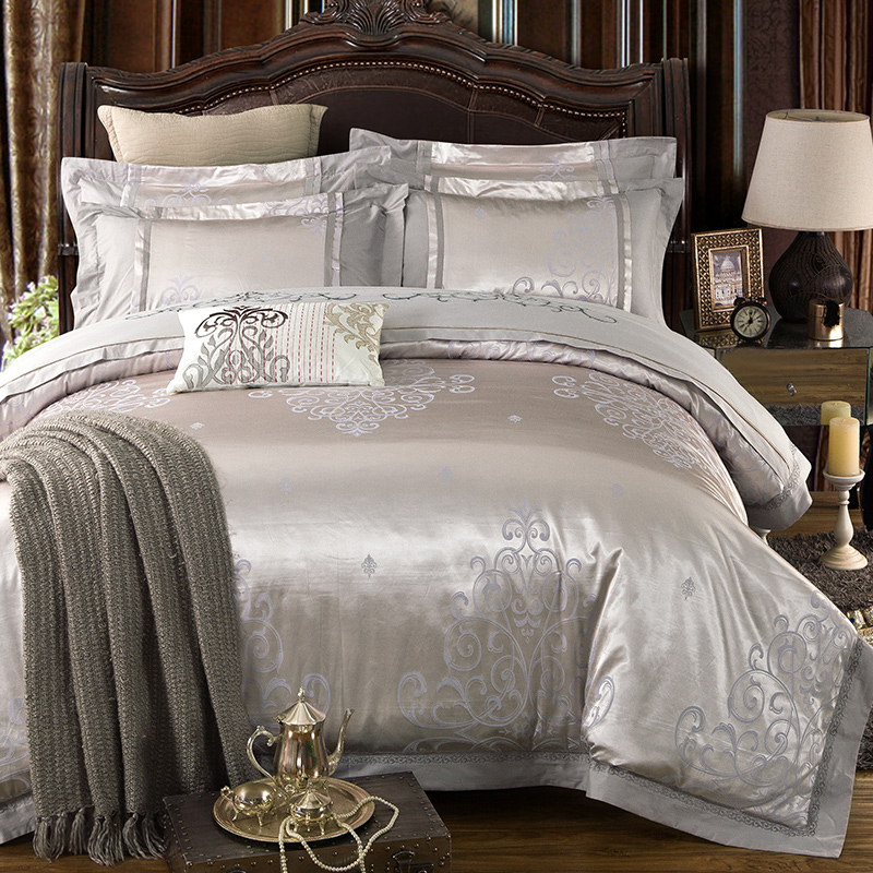 luxury king size bed silver color jacquard bedding set cotton imitate silk 15945