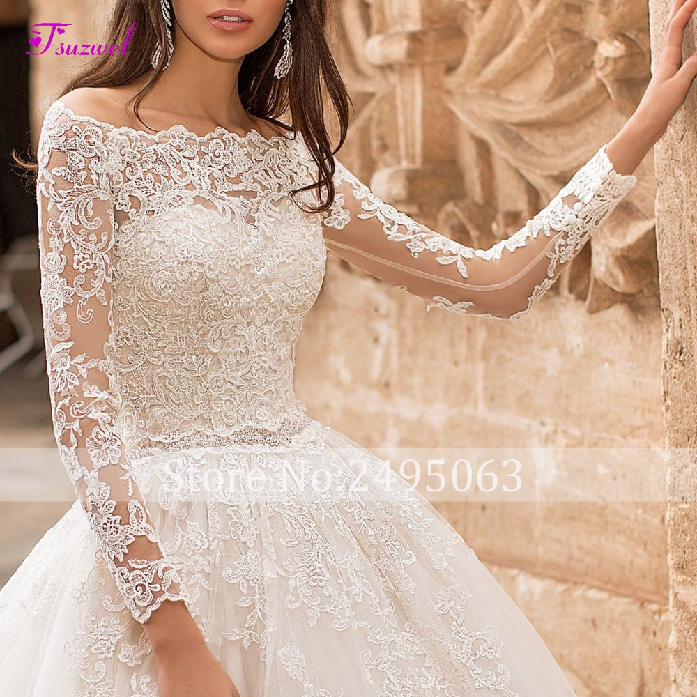 Image 4 - Fsuzwel New Boat Neck Appliques Long Sleeve A Line Wedding Dress 2019 Luxury Crystal Sashes Princess Bride Gown Vestido de Noiva-in Wedding Dresses from Weddings & Events