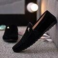 Guisantes hombres zapatos de gamuza transpirable zapatos de verano zapatos de Los Hombres perezosos pedal hombres zapatos de los planos de los holgazanes de cuero