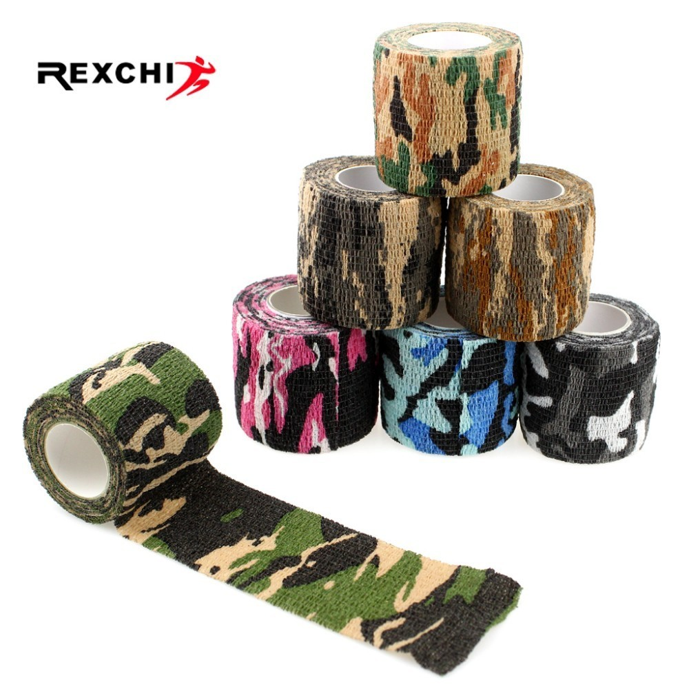 5 Pcs/lot Camping Hiking Self Adhesive Camo Elastic Tape Camo Wrap Outdoor Tools EDC Military Tactical Survival Bandage 5*450cm
