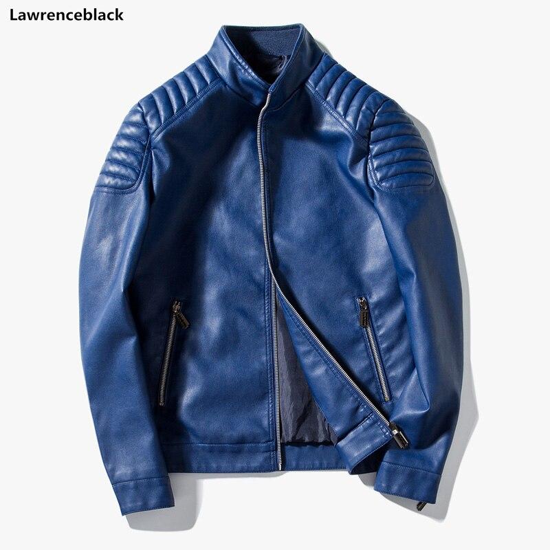 Noir Marque bleu Veste Hommes Vestes Cuir Faux Luxe Homme Blousons 2018  Designer De Manteaux rouge ... f4d6f090547