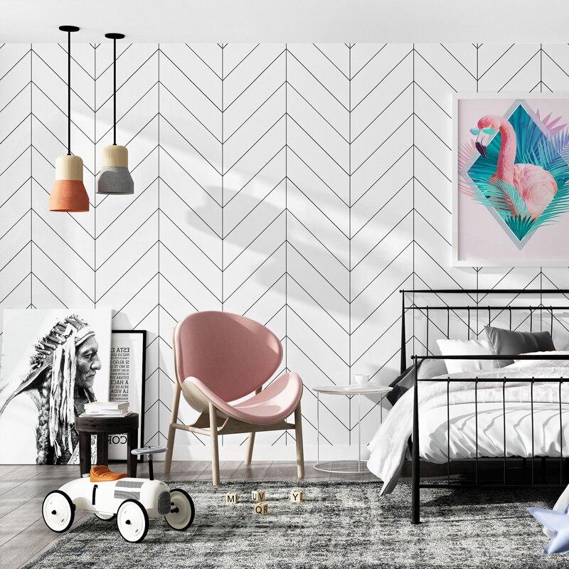 Décoration maison nordique noir blanc rayures papiers peints décor à la maison minimaliste Ins géométrique papier peint pour salon chambre
