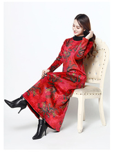 National Style Autumn Winter New Women Dress Print Warm Thickening Plus Velvet Temperament Long Paragraph Loose Large Size
