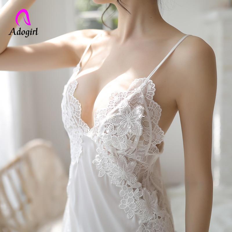 Women White Nightgowns Summer Sexy Nightwear Soft Silk Sleepwear Night Mini Dress Sexy Ladies Lingerie Homewear Satin Sleepdress