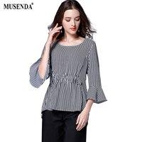 MUSENDA Plus Size Women Chiffon Royal Blue Striped Tunic Blouse 2017 Summer Lady Fashion Casual Brief