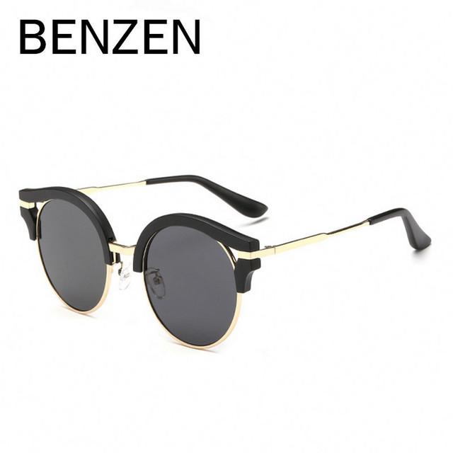 Benzen óculos polarizados do vintage óculos de sol mulheres uv retro óculos de sol feminino Oculos de sol Feminino Gafas de sol Com Caixa de Caso 6118