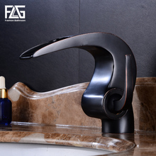 FLG Bathroom basin Faucet Black bathroom Waterfall faucet Crane ORB Basin Mixer Tap with Hot and Cold Water 514-11