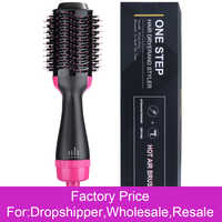 Professional One Step Hair Dryer Brush Volumizer Blow straightener and curler salon 2 in 1 Electric Hot Air Curling Iron comb