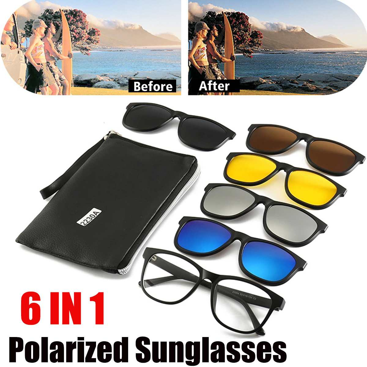 <font><b>6</b></font> <font><b>IN</b></font> <font><b>1</b></font> Night Vision Glasses Polarized <font><b>Sunglasses</b></font> Retro Frame Eyewear Night Vision Driving Optical Glasses With Carry Bag 2230A image