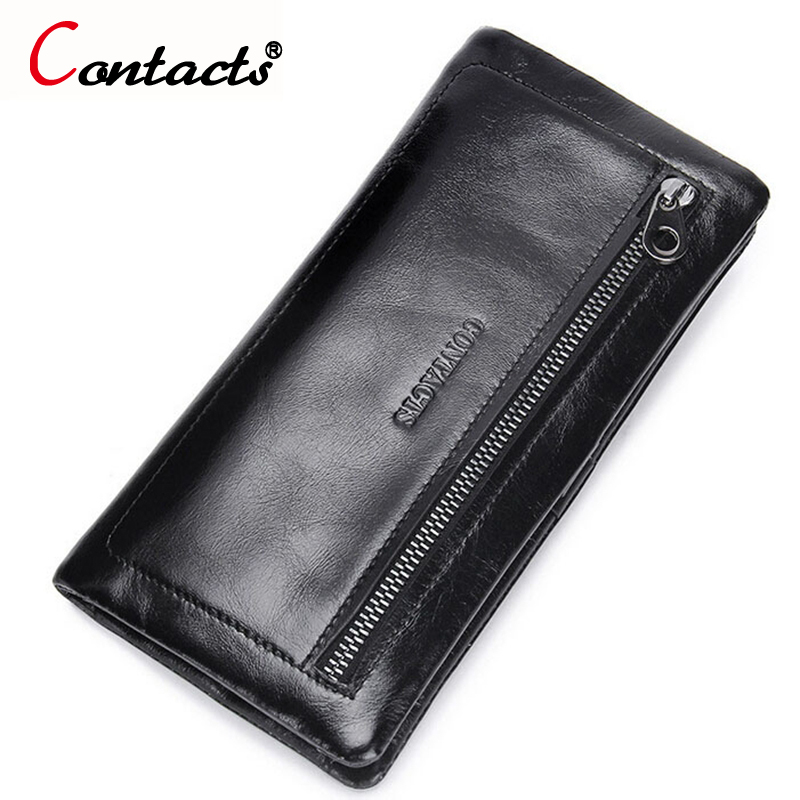 CONTACT'S Purse Genuine Leather Men Wallet Male Clutch Credit Card Holder Coin Purse Men Clutch Bag Designer Perse Wallet Men men wallet male cowhide genuine leather purse money clutch card holder coin short crazy horse photo fashion 2017 male wallets