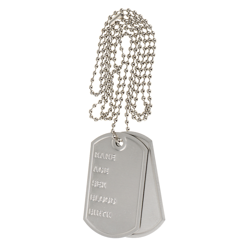 Dogtags on Chain Silver Military Army Prop Jewellery Fancy Dress Accessory