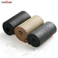CARSUN DIY Steering Wheel Covers Leather Braid On The Steering Wheel Of Car With Needle And