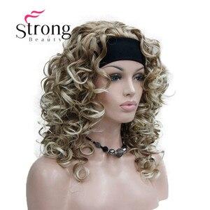Image 2 - StrongBeauty Dâu Tóc Vàng mix Tóc Vàng Đầu 3/4 tóc giả với Đầu Tổng Hợp Xoăn Dài nữ tóc giả