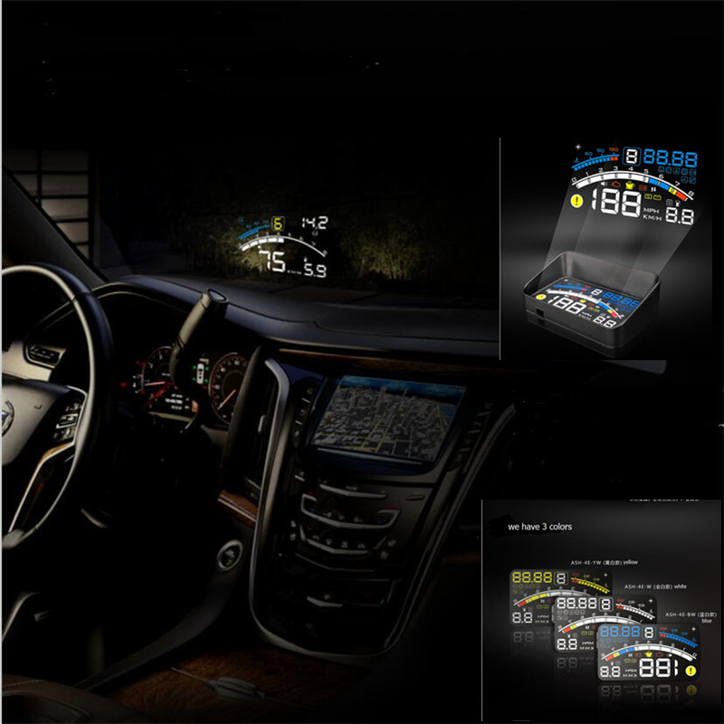 2016 newest  version Universal Car HUD Head Up Display For OBD2 EOBD CAR ,4E Multifunction AUTO HUD display