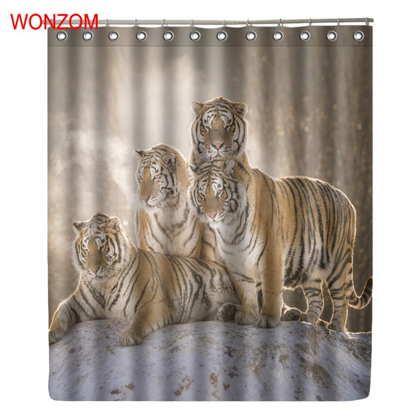 WONZOM 3D Tiger Shower Curtains with 12 Hooks For Mildewproof Bathroom Decor Modern Animals Bath Waterproof Curtain Gift