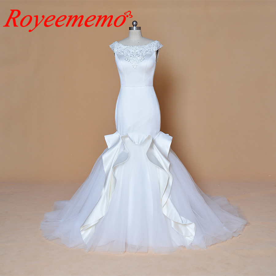 Wedding Gown Wholesalers: 2019 Cap Sleeve Satin Mermaid Wedding Dress Hot Sale