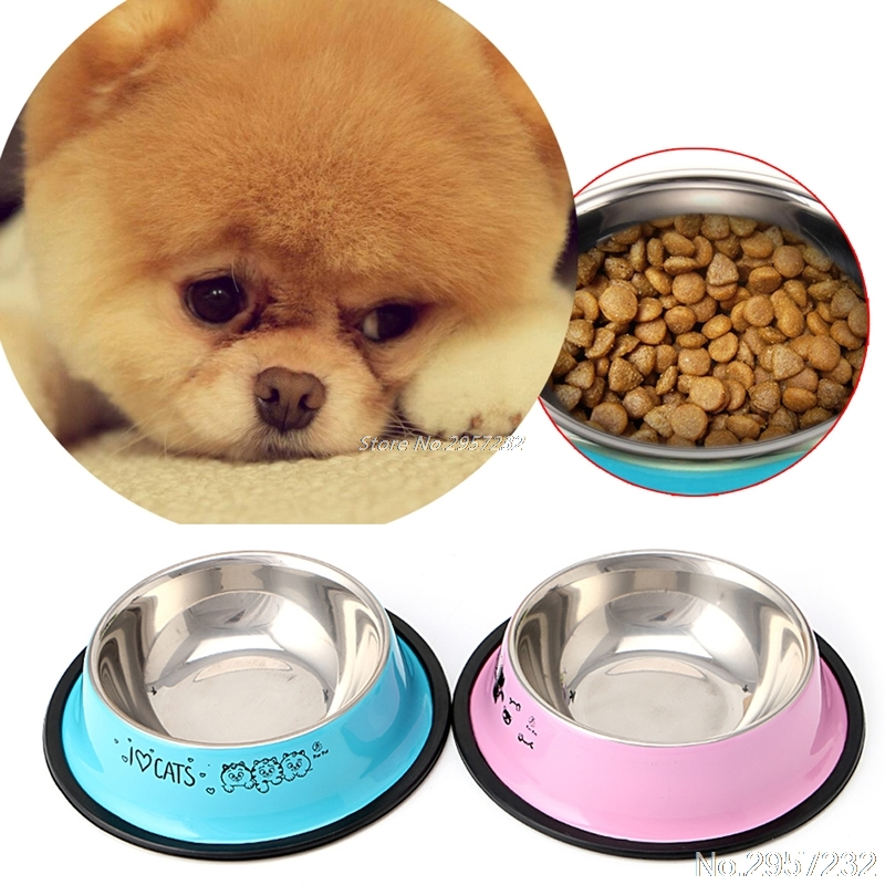 Pet Dog Cat Food Water Dish Stainless Steel Anti-skid Bowl Feeding Feeder Tool   Yy56