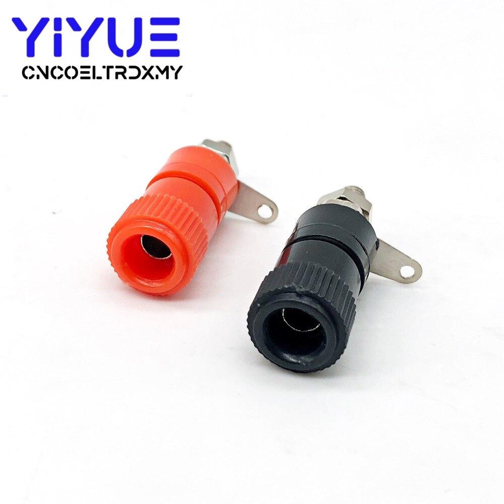 10 PCS 4mm Banana socket Binding Post Nut Banana plug jack connector Red Black