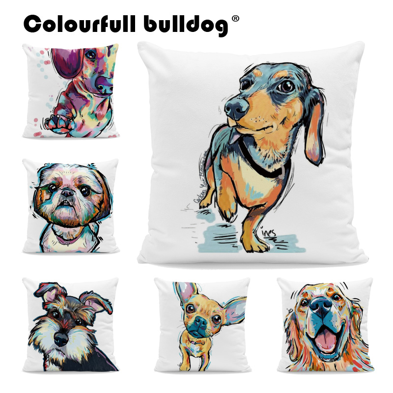 Sunny Dog Print French Bulldog Cushion Covers Vintage Chihuahua Pillow Covers Bichon Schnauzer 18 Inch Waist Support Fall Kussenhoes Home Textile Home & Garden
