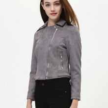 2018 New England Style Women Faux Soft Suede Leather Jackets Lady Slim fit Motorcycle Matte Coat Outerwear Pink Red Gray Coffee