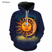 2018 New Design Sun Moon Sunflower Smiling Print 3D Pullovers Hoodies Men Women Hooded Sweatshirts Casual Steetwear Jacket