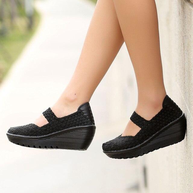 Tejido hecho a mano zapatos de las mujeres Pisos holgazanes perezosos respirables de la boca baja antideslizante gruesa corteza zapatos planos # B001