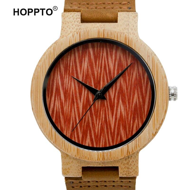 HOPPTO Brand New Women Dress Men Casual With Red Face Genuine Leather 100% Natural Bamboo Wooden Japanese Quartz Movement Watch какой мотоцикл бу можно или квадроцикл за 30 000