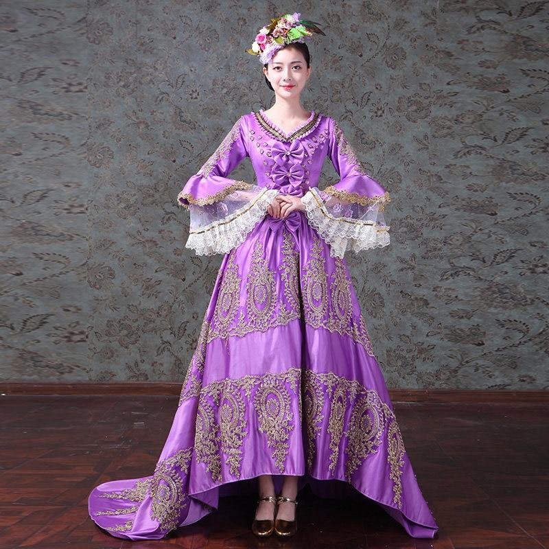 Фиолетовый v образным вырезом длинными расклешенными рукавами Средневековый Ренессанс Барокко Рококо длинные платья для Для женщин