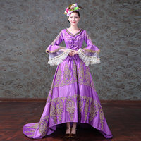 Purple V Neck Long Flare Sleeve Medieval Renaissance Rococo Baroque Long Dresses For Women