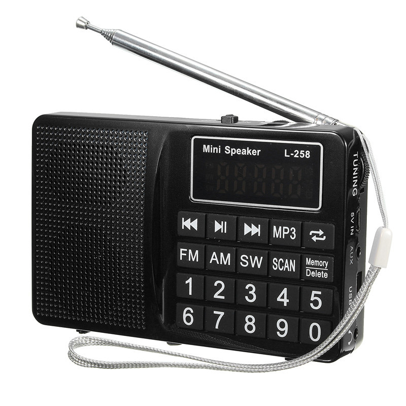 L-258 Radio FM AM SW Portable Speaker Digital Receiver with Antenna Rechargeable Battery Support USB TF Card MP3 Record Player 5pcs pocket radio 9k portable dsp fm mw sw receiver emergency radio digital alarm clock automatic search radio station y4408