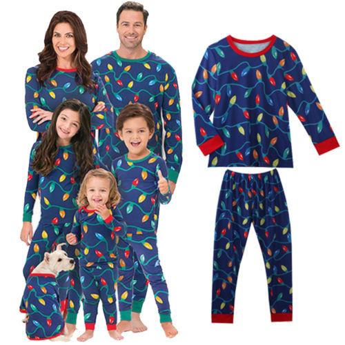 557709e8ad2 Hot Christmas Family Matching Pajamas Set Colorful Led String Lamp Adult Kids  Sleepwear Set Mama Papa Kids PJs Clothes Set